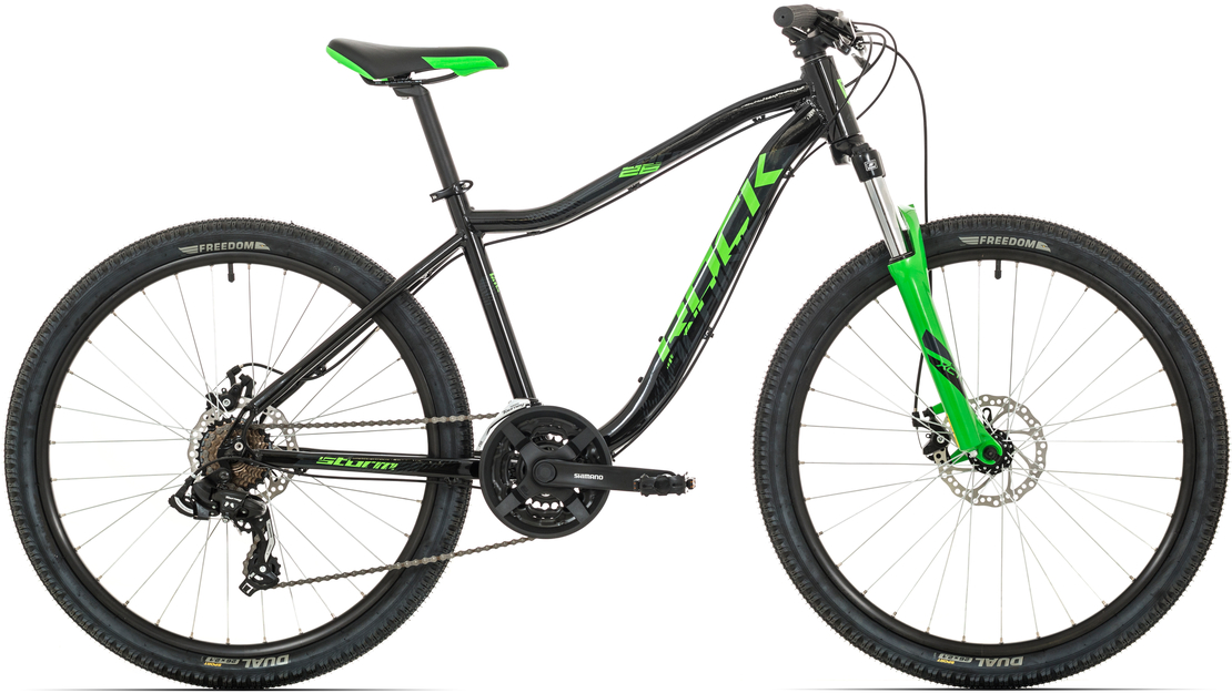 "Rock Machine Storm 26""MD 2019, rám 14"" (XS)gloss black/neon green/dark grey"