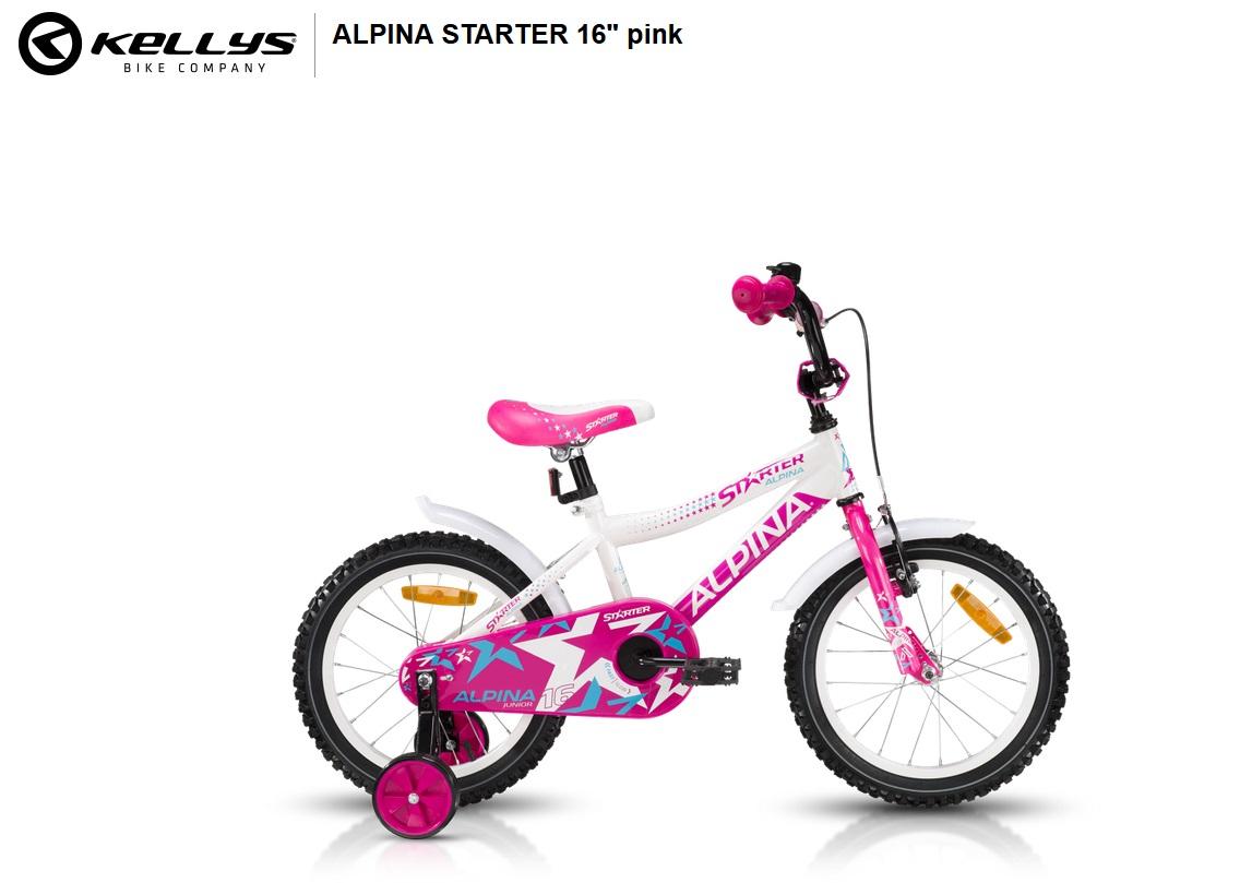 """Dětské kolo Alpina Starter Pink 16"""" 2017, ZDARMA doprava, montáž a sada blikaček (Záruka nejlepší ceny! Nakupujte u autorizovaného prodejce!)"""