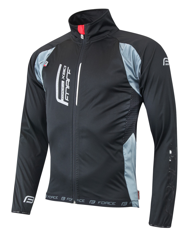 Sportovní bunda F X80 tenký softshell, UNI, černo-šedá, vel. XL (SOFTSHELL sportovní bunda Force s celorozepínacím zipem, unisex)