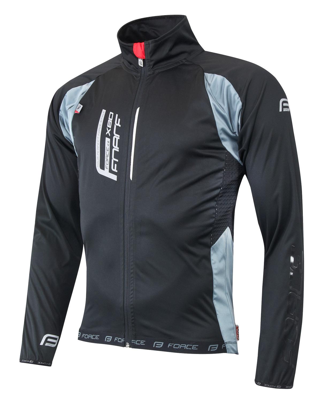 Sportovní bunda F X80 tenký softshell, UNI, černo-šedá, vel. S (SOFTSHELL sportovní bunda Force s celorozepínacím zipem, unisex)
