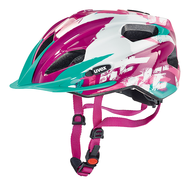 Cyklistická přilba UVEX QUATRO JUNIOR, 2016 WHITE-PINK (pro obvod hlavy 50-55 cm, model 2016)