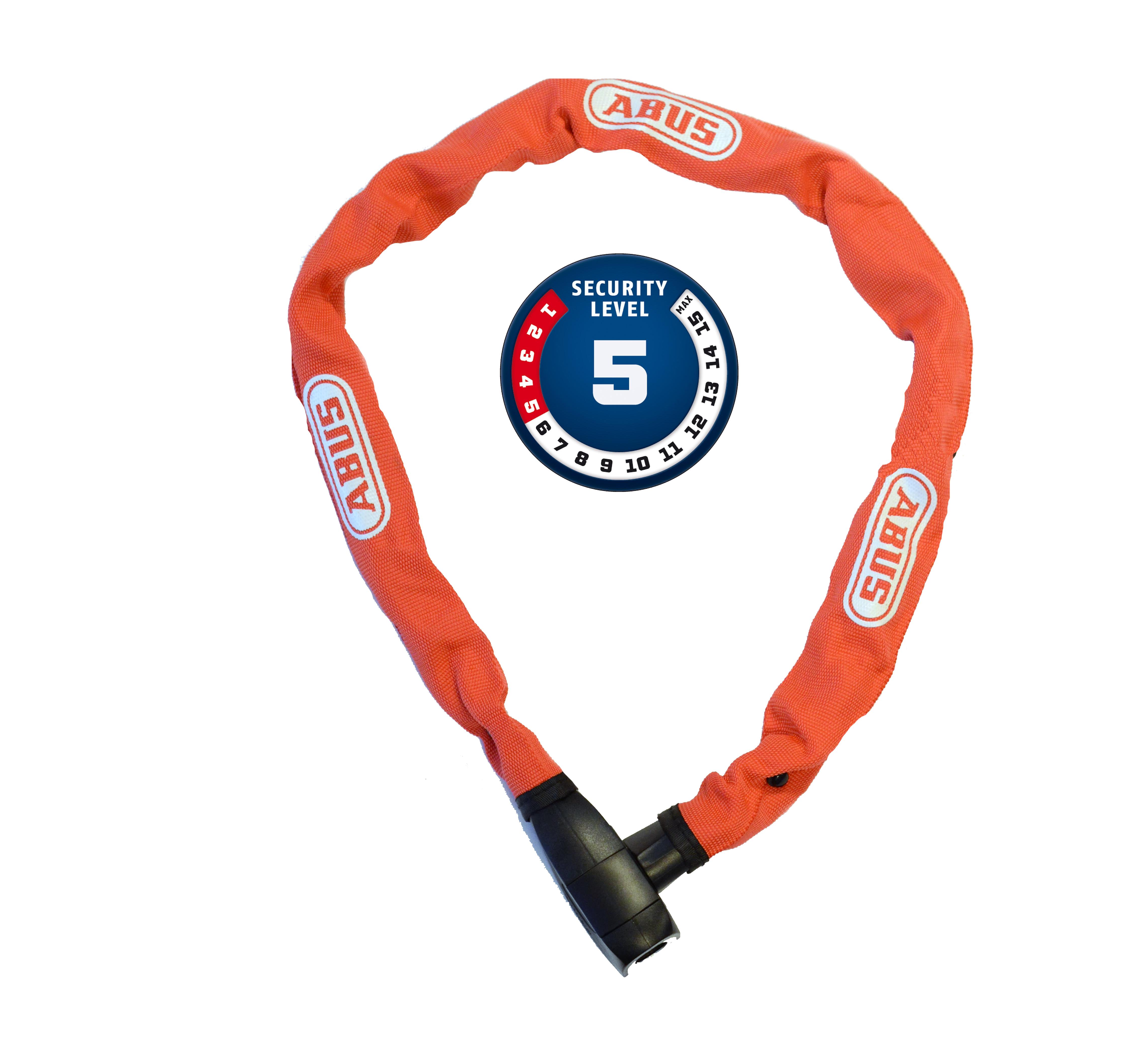 Řetězový zámek ABUS 6800, 110 cm, barva červená (Zámek na kolo, délka 110 cm)