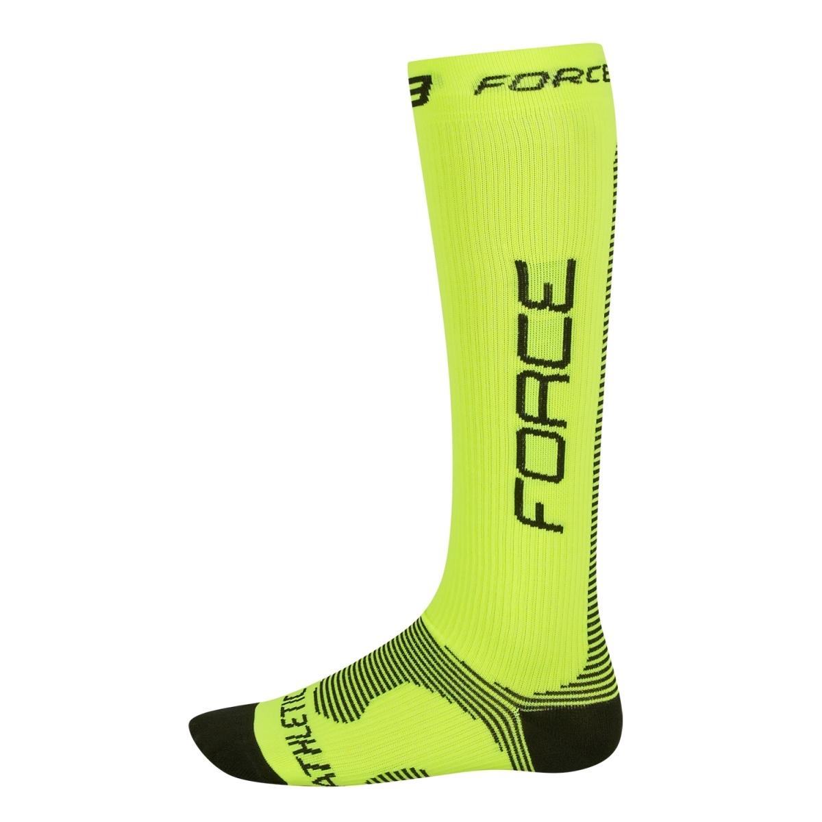 Ponožky FORCE ATHLETIC PRO KOMPRES, fluo-černé