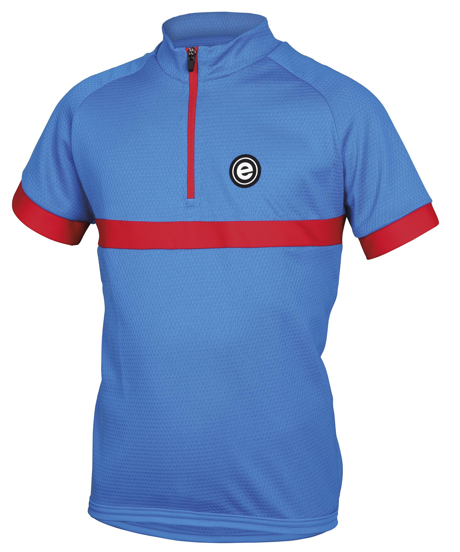 Dětský cyklistický dres ETAPE Bambino, 152/158, modrá/červená, model 2017 (Dětský dres Etape, přední zip)
