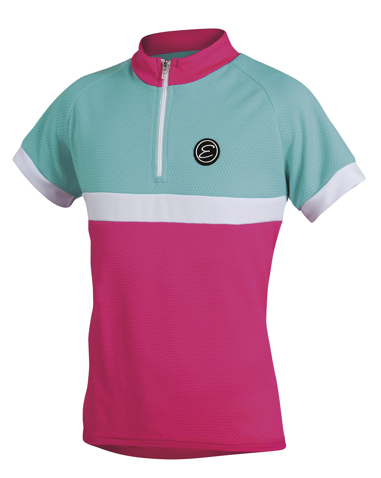 Dětský cyklistický dres ETAPE Bambino, 152/158, růžová/aqua, model 2017 (Dětský dres Etape, přední zip)