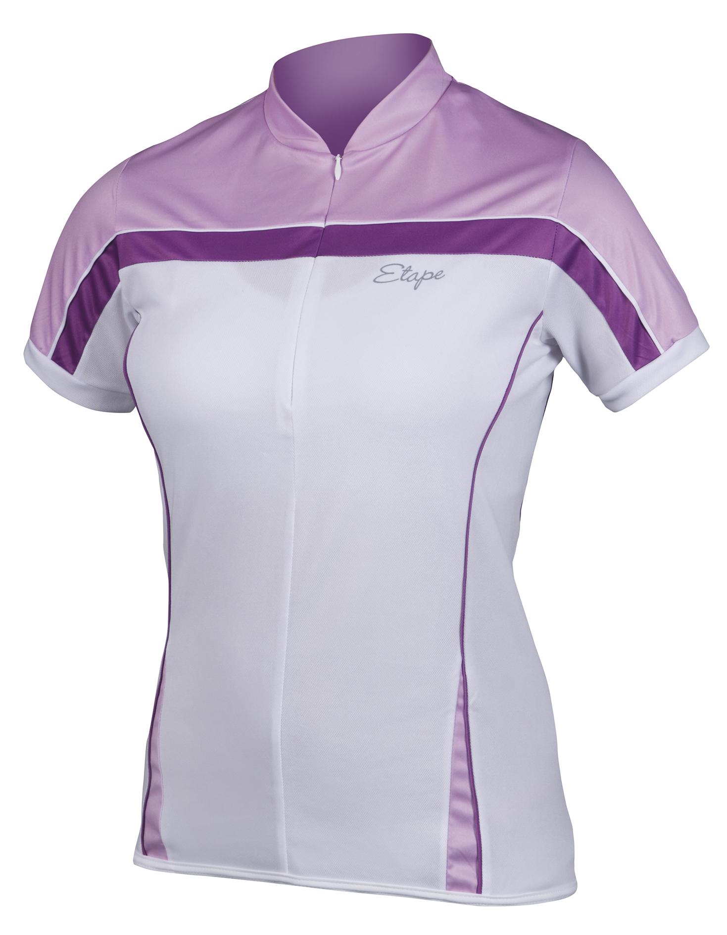 Dámský cyklistický dres ETAPE Roxy, vel. L, bílá/fialová, model 2017 (Dámský dres Etape, přední skrytý zip, bez rukávů)