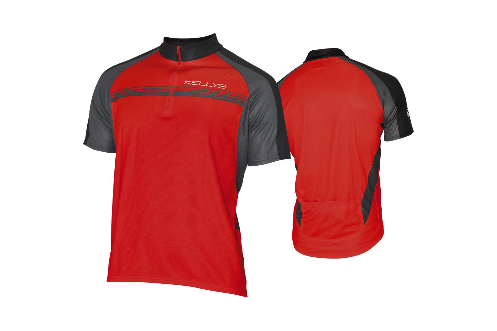 Pánský dres KELLYS PRO Sport, vel. XL, červená, krátký rukáv (Pánský cyklistický dres KELLYS, vel. XL, krátký rukáv, barva červená dle vyobrazení!)