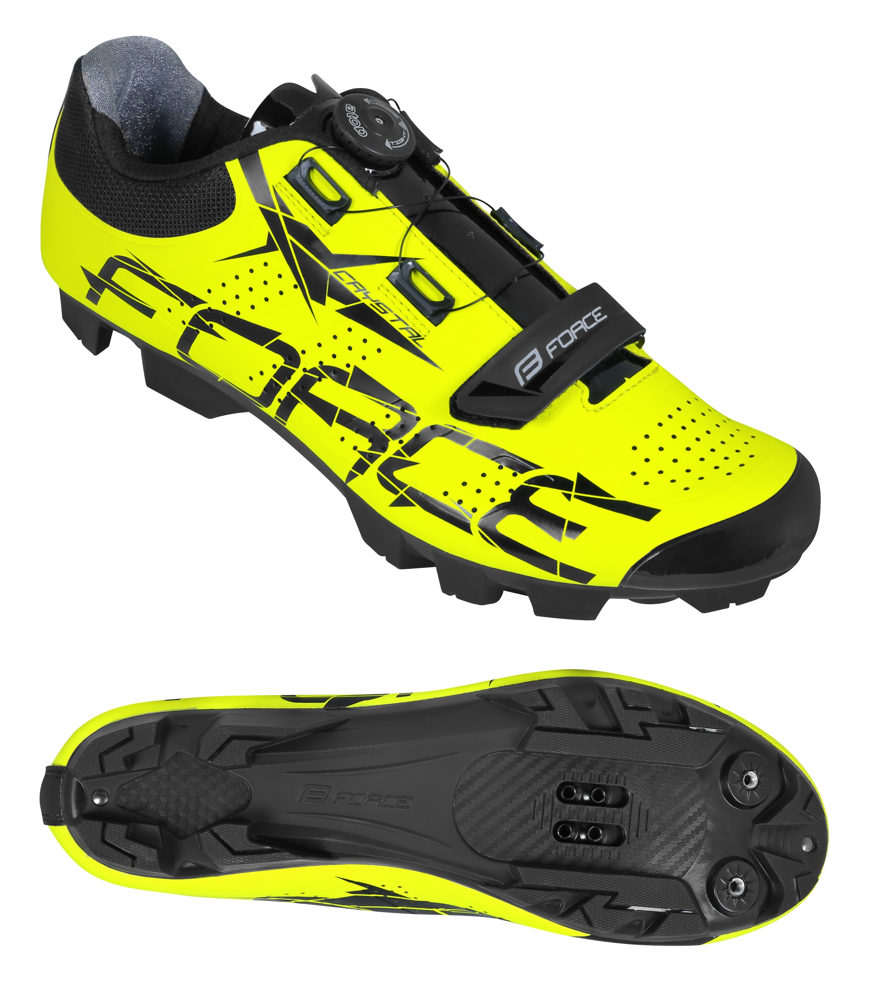 Tretry FORCE MTB CRYSTAL vel. 45, fluo