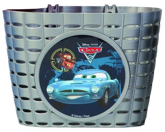 Přední plastový košík Cars, stříbrný (dětský košík na řidítka, plastový)