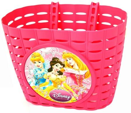Přední plastový košík Princess, růžový (dětský košík na řidítka, plastový)
