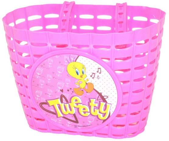 Přední plastový košík TWEETY, růžový (dětský košík na řidítka, plastový)