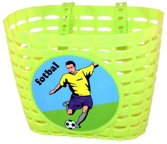 Přední plastový košík FOTBAL, zelený (dětský košík na řidítka, plastový)