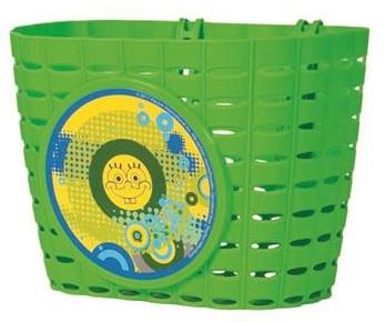 Přední plastový košík Sponge Bob, zelený (dětský košík na řidítka, plastový)