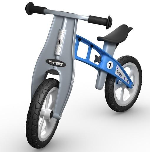 Odrážedlo First Bike PU basic - ZDARMA dopravné, košík a zvonek (varianta bez ruční brzdy, PU kola, barva modrá)