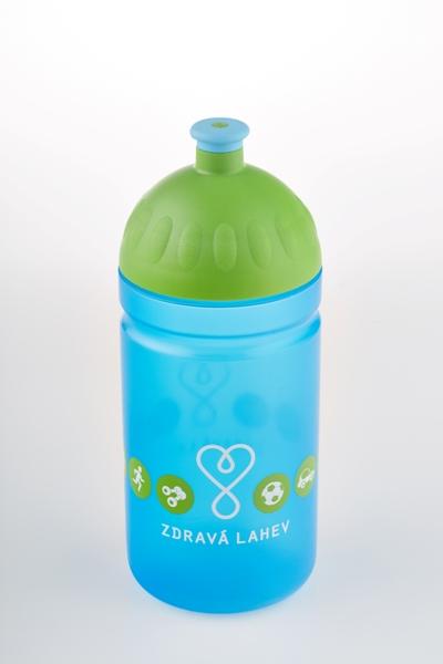 Zdravá lahev - 0,5l LOGO modré model 2014 (modro-zelená, nový motiv zdravé lahve!)