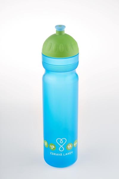 Zdravá lahev - 1,0l LOGO modré model 2014 (modro-zelená, nový motiv zdravé lahve!)
