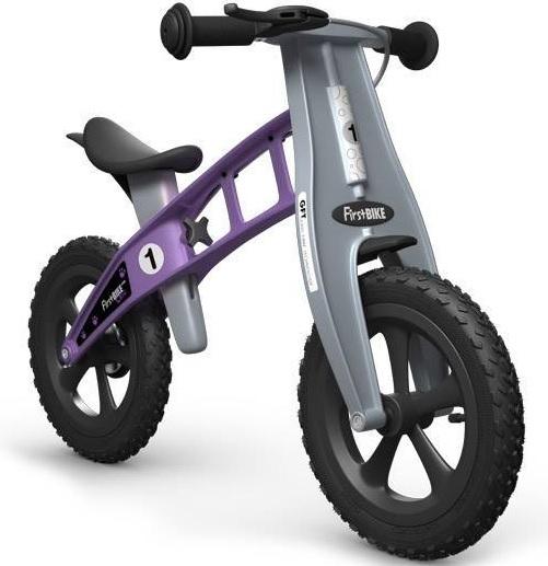 Odrážedlo FIRST Bike CROSS violet - ZDARMA dopravné, košík a zvonek (varianta s ruční brzdou, barva fialová)