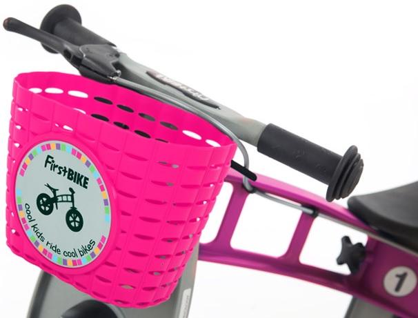 Košík na řidítka růžový - First Bike (přední plastový košík)