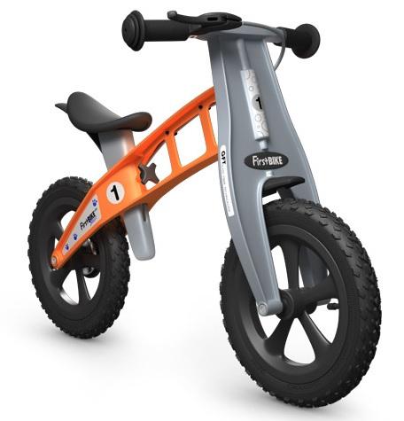 Odrážedlo FIRST Bike CROSS orange - ZDARMA dopravné, košík a zvonek (NOVINKA! varianta s ruční brzdou, barva oranžová)