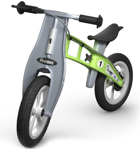 Odrážedlo FIRST Bike STREET green - ZDARMA dopravné, košík a zvonek (varianta s ruční brzdou, barva zelená)