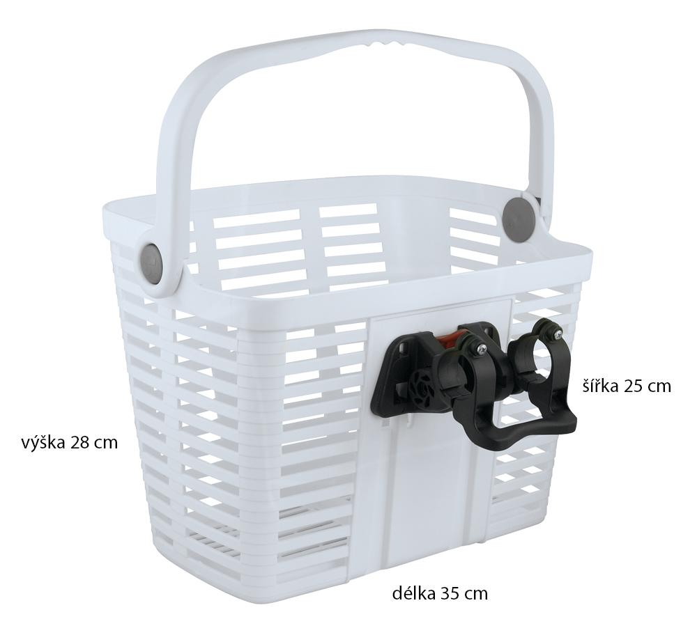 Košík plastový na řídítka KLICK FIX, bílý