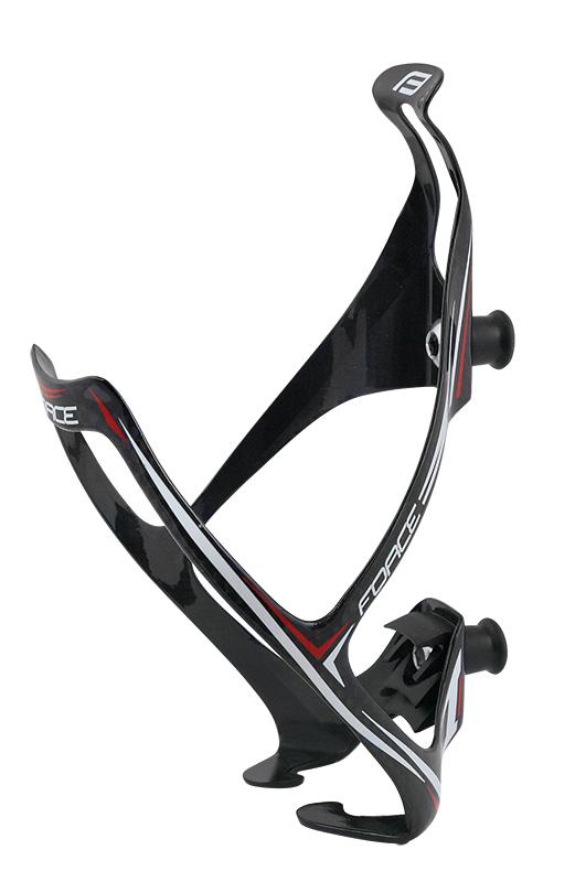 Košík / držák láhve FORCE karbonový 18g,černo-bílo-červený