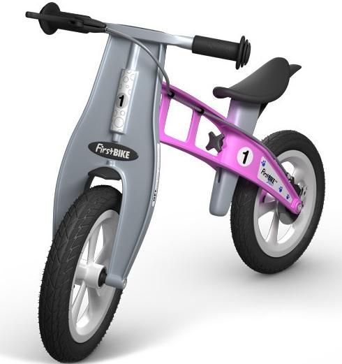 Odrážedlo FIRST Bike STREET pink - ZDARMA dopravné, košík a zvonek (varianta s ruční brzdou, barva růžová)