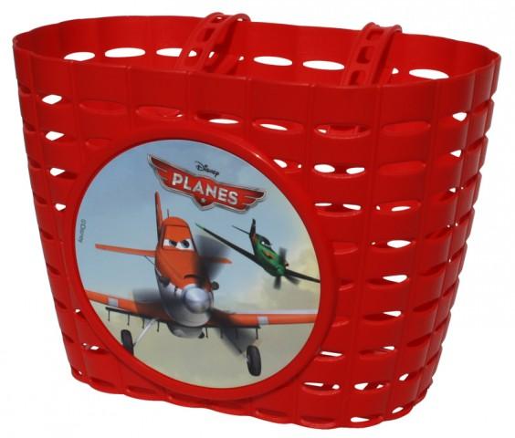 Přední plastový košík Planes - Letadla, červený (dětský košík na řidítka, plastový)