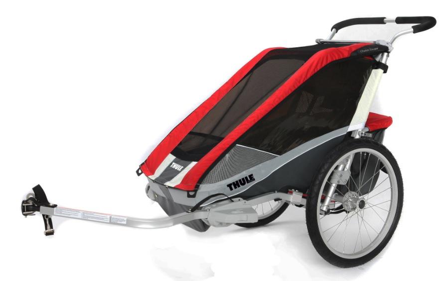 THULE CHARIOT COUGAR 2 red, 2014 - ZDARMA cyklistický set a dopravné (Dětský vozík za kolo - Cyklovozík, model 2014 - záruka nejnižší ceny)
