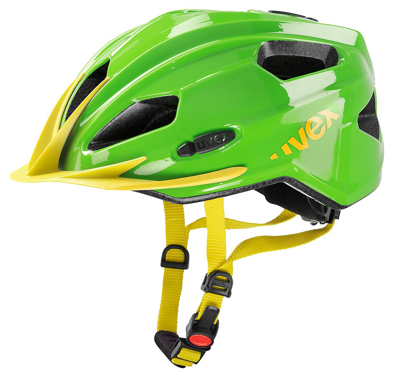 UVEX Cyklistická přilba helma QUATRO JUNIOR zelenožlutá 50-55 cm 2016