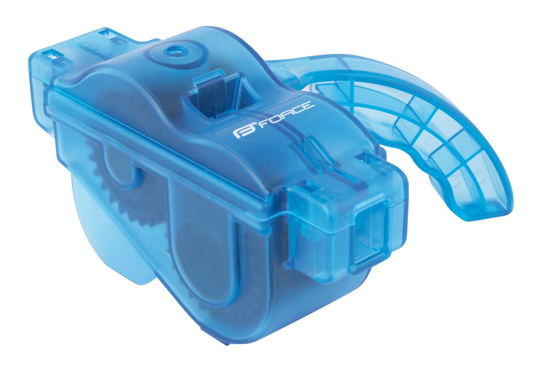 Čistička řetězů FORCE plastová s rukojetí, modrá (Pračka řetězů Force)