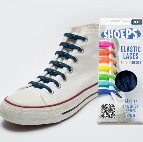 Shoeps - silikonové tkaničky - navy blue