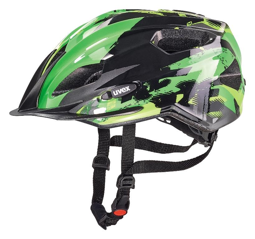Cyklistická přilba UVEX QUATRO JUNIOR, 2016 BLACK-GREEN (pro obvod hlavy 50-55 cm, model 2016)