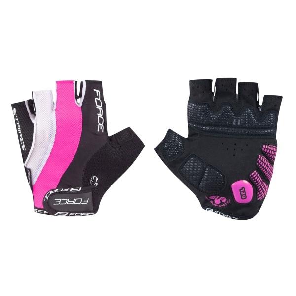 Rukavice FORCE STRIPES gel, černo-růžové L (rukavice FORCE STRIPES gel, vel. L, barva černo-růžová)