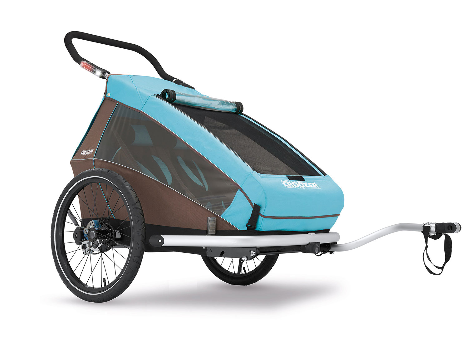 CROOZER KID FOR 2 PLUS Click & Crooz, 2016 - ZDARMA dopravné (Cyklovozík CROOZER KID FOR 2 PLUS Click & Crooz, model 2016, barva modrá, odpružený)