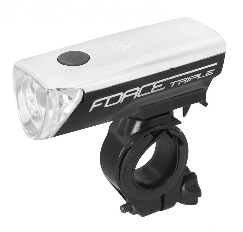 Světlo přední FORCE TRIPLE 3 diody + baterie,černé (světlo na kolo přední, barva černá)