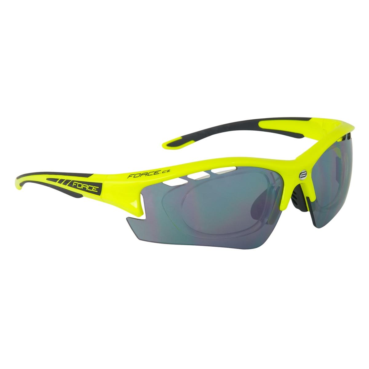 Brýle FORCE RIDE PRO fluo diop.klip,černá laser skla (sportovní brýle s diopt.klipem)