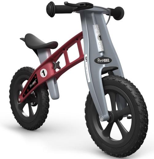 Odrážedlo FIRST Bike CROSS red - ZDARMA dopravné, košík a zvonek (varianta s ruční brzdou, barva červená)