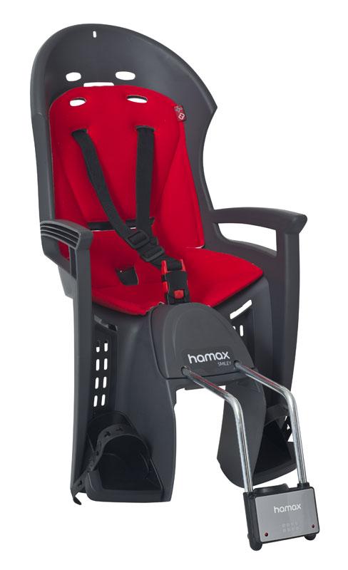 Hamax SMILEY dětská cyklosedačka na kolo,šedo-červená-ZDARMA reflexní pásek (Dětská sedačka na kolo - cyklosedačka Hamax Smiley Grey - dle vyobrazení)