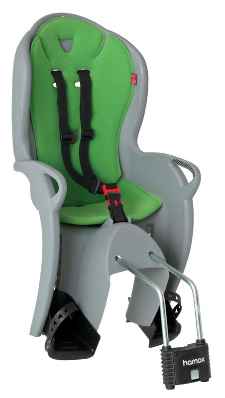 Hamax KISS dětská sedačka na kolo-cyklosedačka, šedo-zelená - ZDARMA r.pásek (Dětská sedačka na kolo - šedo-zelená)