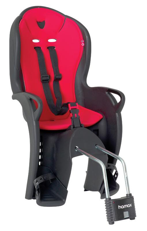 Hamax KISS dětská sedačka na kolo-cyklosedačka, černo-červená - ZDARMA r.pásek (Dětská sedačka na kolo - černo-červená)