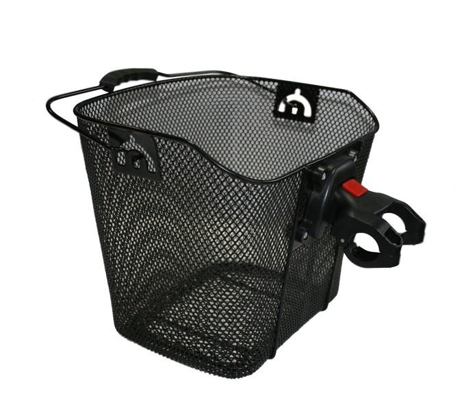 Košík přední s rychloupínacím držákem, drátěný, černý (Košík na řídítka, drátěný, barva černá)