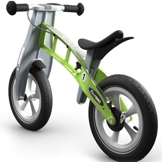 Odrážedlo FIRST Bike RACING green - ZDARMA dopravné, košík a zvonek (varianta s ruční brzdou, barva zelená)
