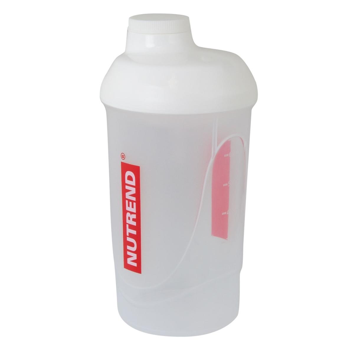 Láhev-šejkr NUTREND 0,6 l, průhledný (Transparentní šejkr NUTREND s objemem 0,6 litru pro přípravu koktejlů)