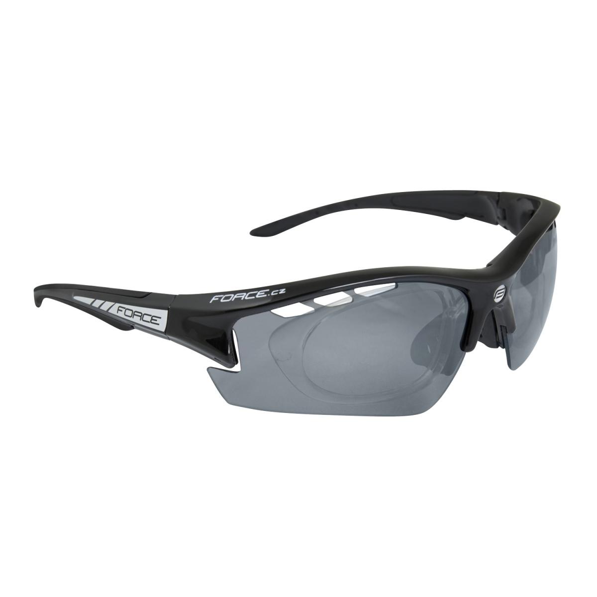 Brýle FORCE RIDE PRO černé, diop. klip, černá laser skla (Sportovní brýle s dioptrickým klipem )