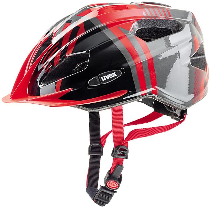 Cyklistická přilba UVEX QUATRO JUNIOR, 2017 RED-ANTHRACITE (pro obvod hlavy 50-55 cm, model 2017)