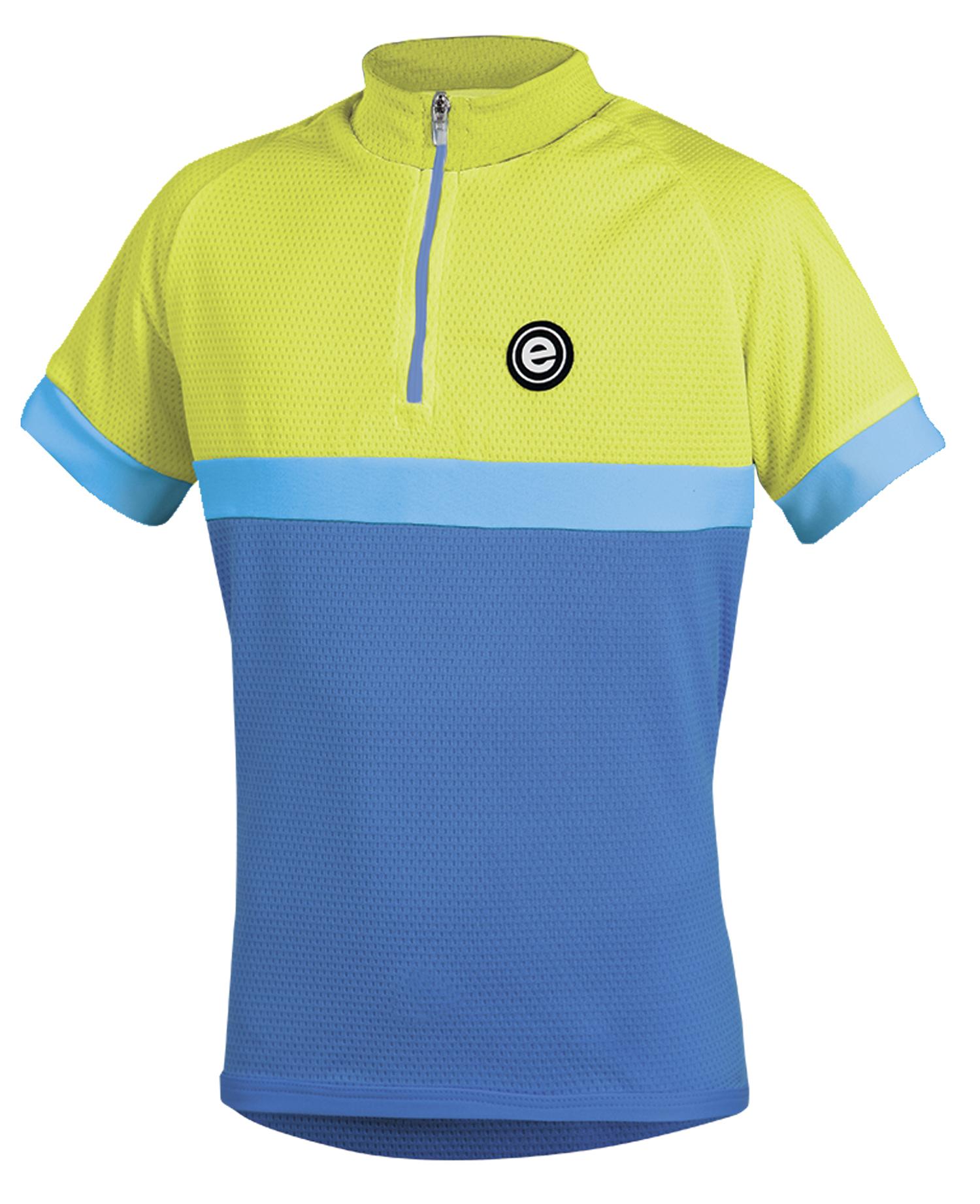 Dětský cyklistický dres ETAPE Bambino, 128/134, modrá/žlutá fluo, model 2017 (Dětský dres Etape, přední zip)