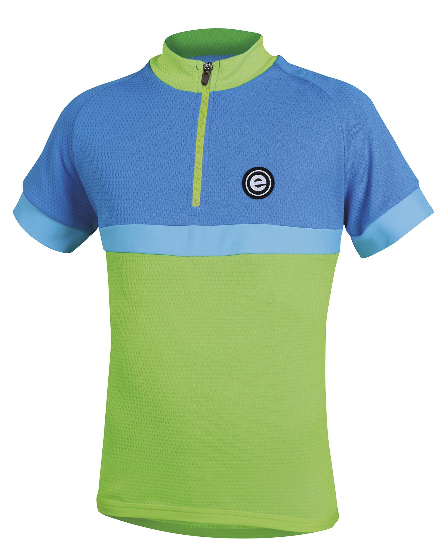 Dětský cyklistický dres ETAPE Bambino, 128/134, zelená/modrá, model 2017 (Dětský dres Etape, přední zip)