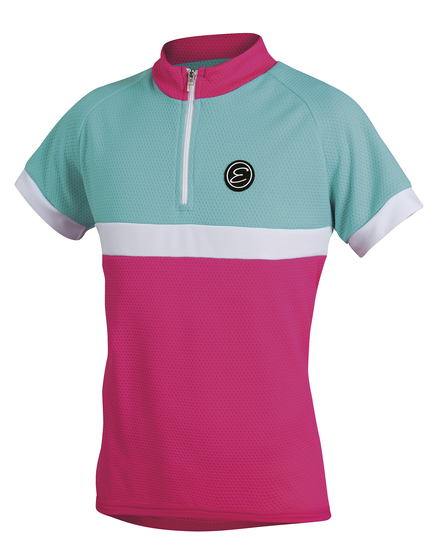 Dětský cyklistický dres ETAPE Bambino, 128/134, růžová/aqua, model 2017 (Dětský dres Etape, přední zip)
