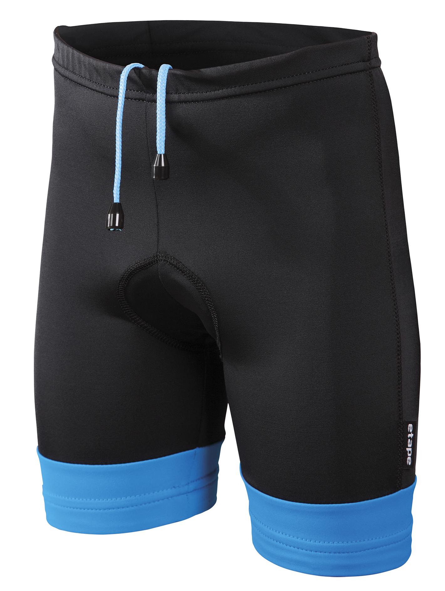 Dětské cyklistické kraťasy ETAPE Junior, 140/146, černá/modrá, model 2017 (Dětské kraťasy Etape, s vložkou )